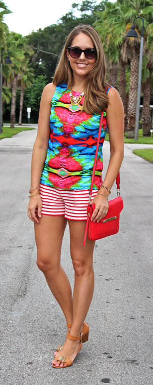 Piperlime top with J.Crew shorts and Stella & Dot purse