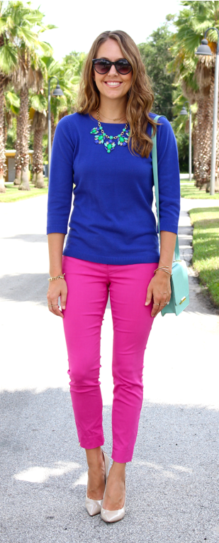 Blue Spiegel sweater with Limited pink pants
