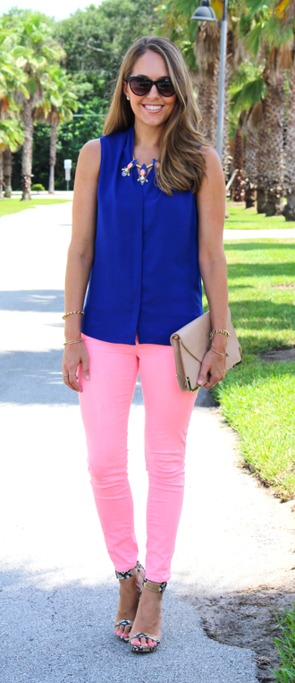 Cobalt top with peach jeans