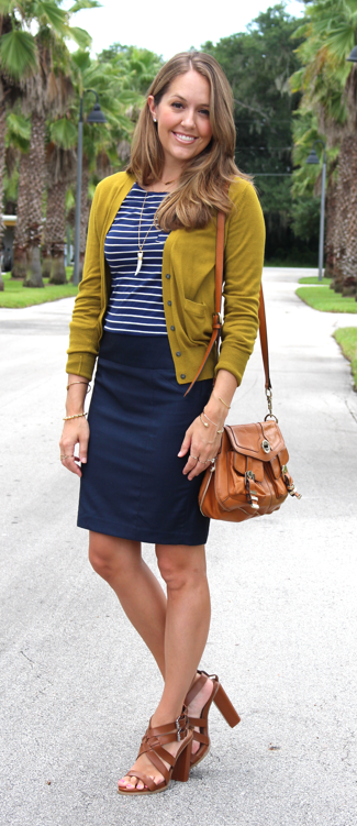 Navy striped top with navy pencil skirt for fall