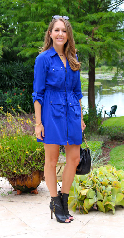 Cobalt shirtdress with Vince Camuto booties