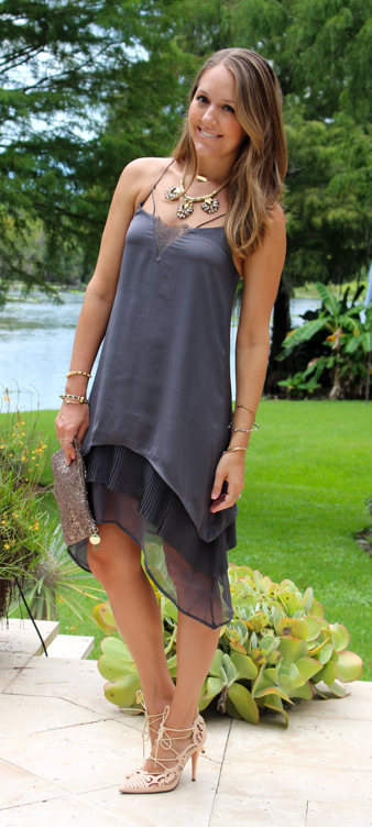 H&M chiffon tiered dress