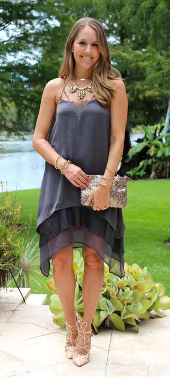 H&M dark gray boho dress