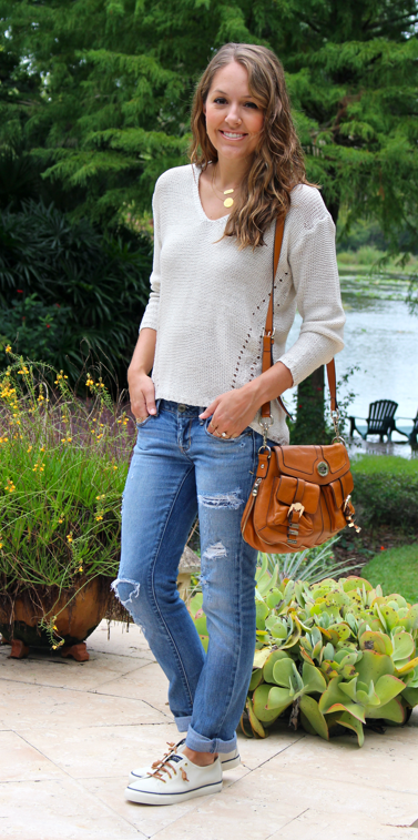 Knit sweater with distressed jeans and Sperry's