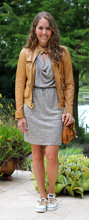 Cowl neck dress with cognac leather jacket