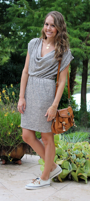 Macy's Bar III cowl neck dress with Sperry sneakers