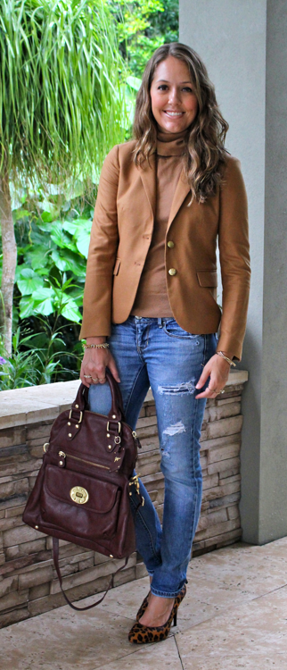 Camel blazer, distressed jeans and leopard pumps