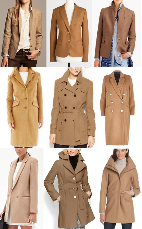 Camel blazers and coats