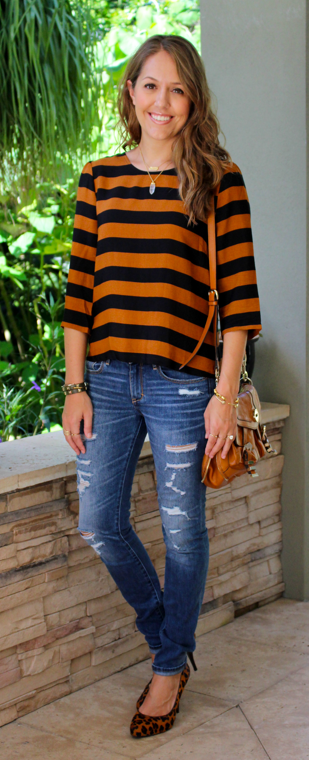 F21 pumpkin and navy striped top