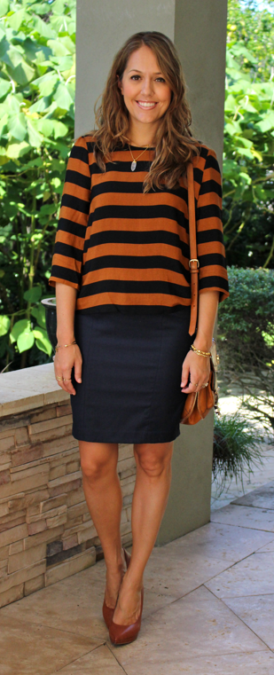 Pumpkin and navy F21 top and Limited skirt