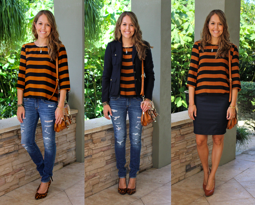 F21 pumpkin and navy striped top, 3 ways