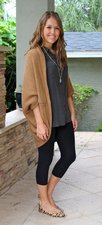 Tunic sweater and top with leggings and leopard flats