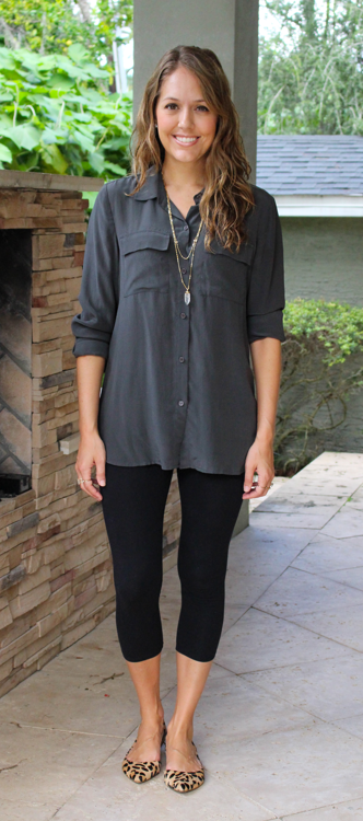 Silk button down with leggings and leopard flats