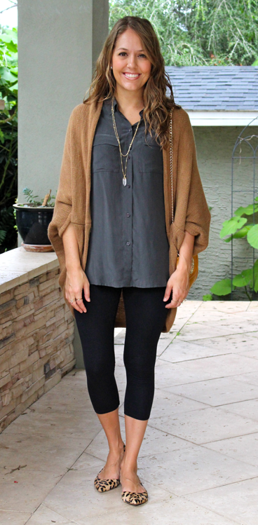 Long sweater and silk top with leggings and leopard flats