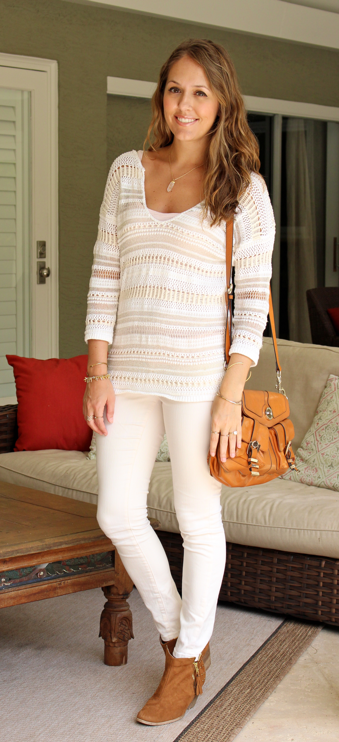 ivory crochet sweater with ivory jeans