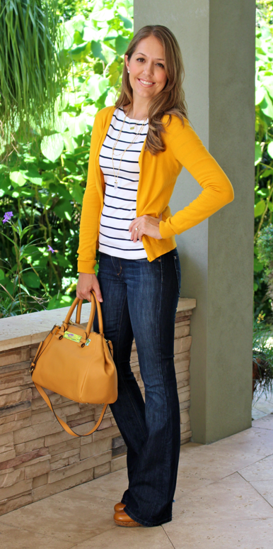 Mustard cardigan, navy striped shirt, bootcut jeans
