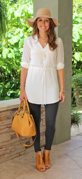 White shirtdress with leggings