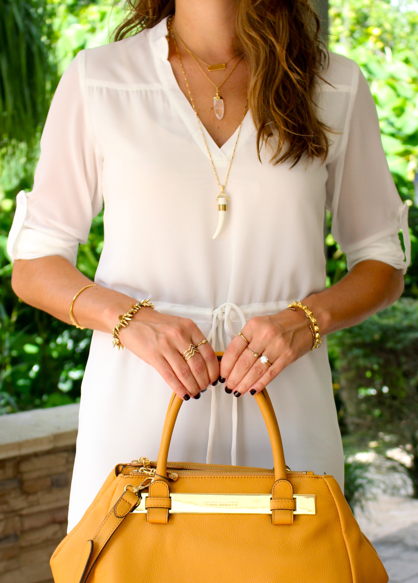 White shirt dress with Vince Camuto bag and Stella & Dot jewelry