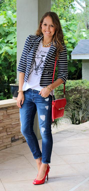 Striped blazer, graphic tee, red pumps