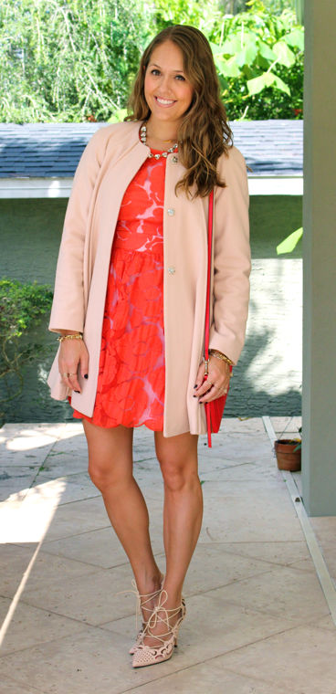 Pink ASOS coat with red dress