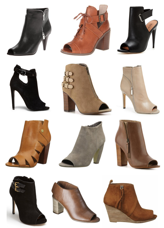 Peep toe booties under $100