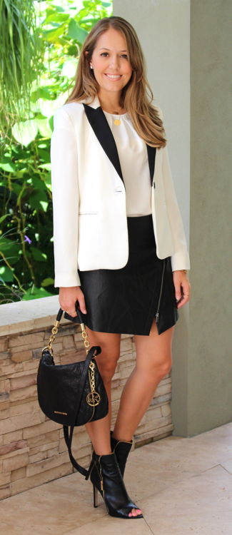 White tuxedo blazer with leather skirt