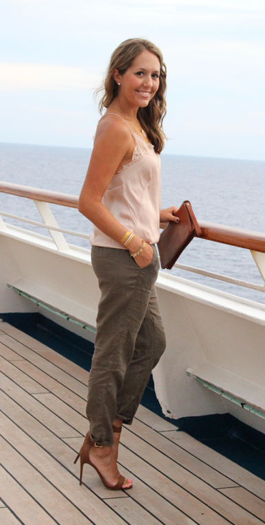 Pink lace top with olive linen pants