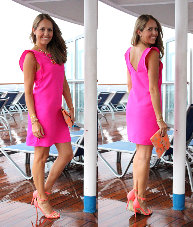Pink flutter sleeve dress with orange accessories