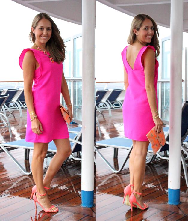 Pink flutter sleeve dress with orange accessories