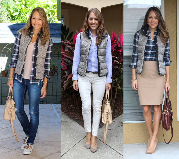 One puffer vest, 3 ways - Today's Everyday Fashion: Puffer Vests — J's Everyday Fashion