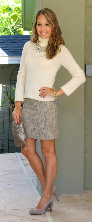 Ivory sweater, tweed skirt, suede shoes