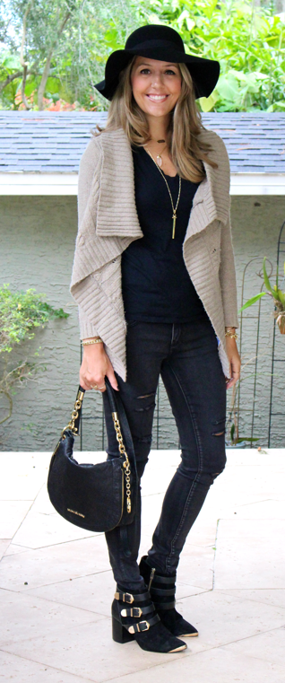Waterfall cardigan over all black outfit