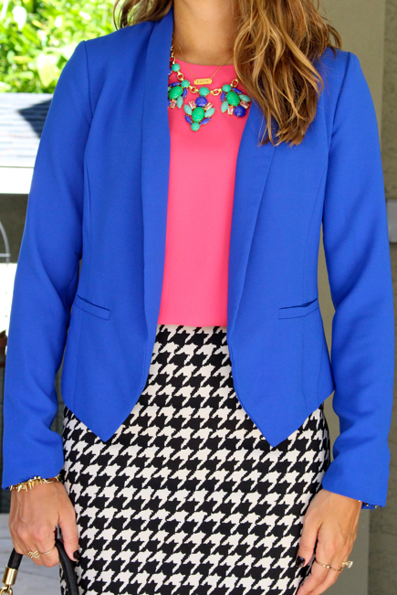 Cobalt blazer with houndstooth skirt