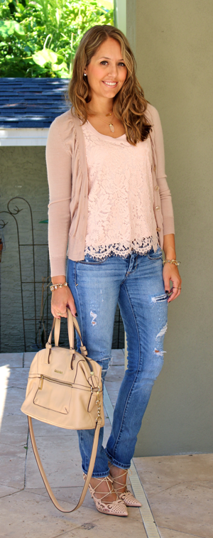 BR pink lace top with distressed jeans