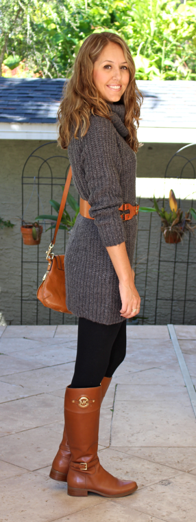 Gray sweater dress with cognac boots and belt