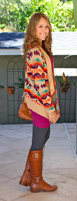 Colorful tribal cardigan with sweater dress