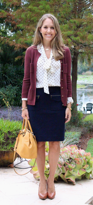 Bow blouse , pencil skirt, maroon cardigan