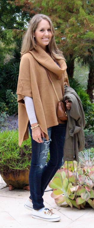 H&M poncho with Sperrys