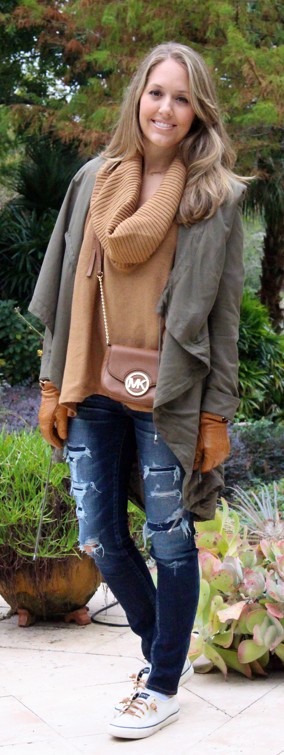 Cowl neck sweater, olive jacket, distressed jeans