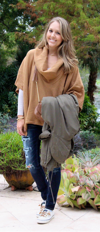 H&M camel poncho sweater