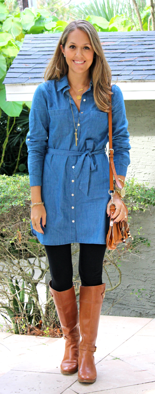 Chambray dress, black leggings, riding boots