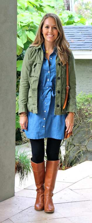 Olive military jacket, chambray dress, leggings and boots