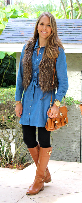 Chambray dress, faux fur vest, riding boots