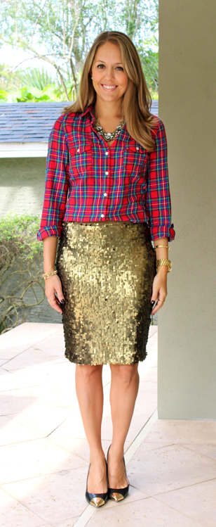 Holiday outfit: red plaid with gold sequins