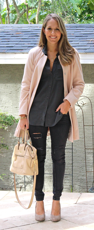 Pink wool coat, gray button front, black jeans