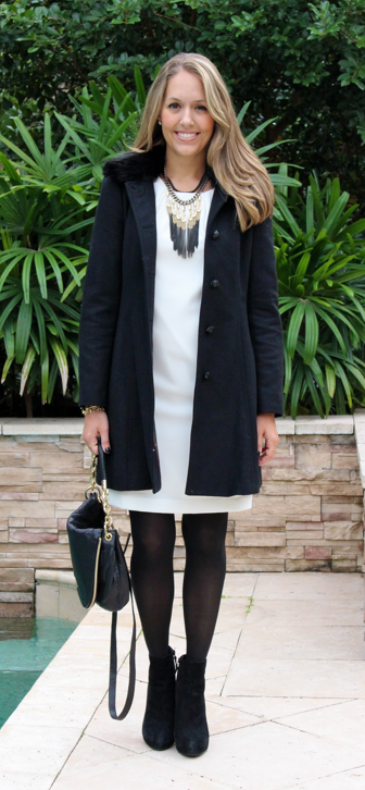 Banana wool coat with Ann Taylor shift dress