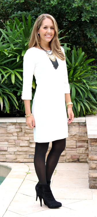 Ann Taylor white sheath dress with black boots