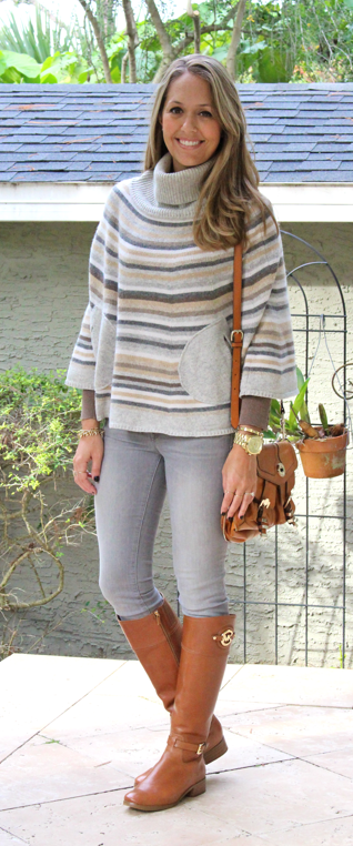 Striped Gap sweater, gray jeans, brown boots