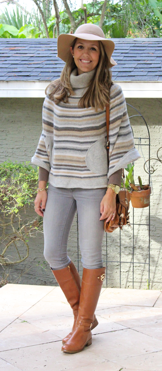 Striped sweater, gray jeans, brown boots