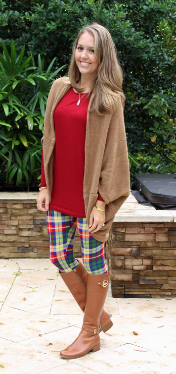 Camel sweater, White Plum red tunic and plaid leggings
